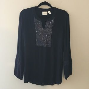 Chico's boho tunic with sequin front panel. Navy